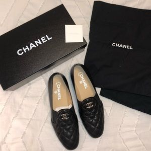 RARE Chanel Quilted Black Loafers